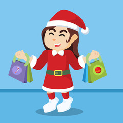 santa girl shopping christmas