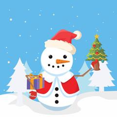 snowman holding christmas tree and christmas box