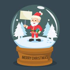 santa on snow glass ball
