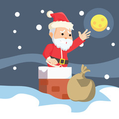 santa stuck in chimney illustration design