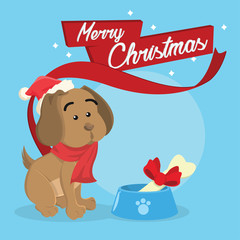puppy merry christmas illustration