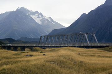 Truss bridge over Hooker River on Tasman Valley Road leading to Tasman Lake in Aoraki Mount Cook National Park, New Zealand