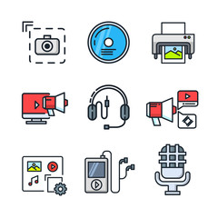 media icon set color