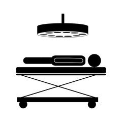 silhouette of man lying on a stretcher in surgery room icon over white background. vector illustration