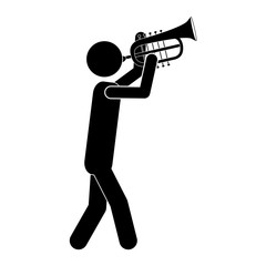 silhouette of musician man playing an trumpet musical instrument icon over white background. vector illustration