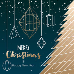 Geometric christmas tree and decoration for winter holidays card