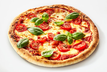 Flame grilled Margherita pizza with basil