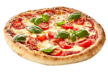 Margherita pizza on a thick pie crust