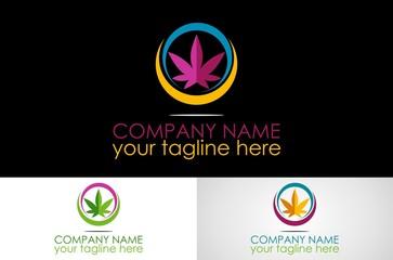 colored marijuana logo design