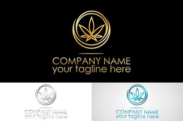 gold line marijuana logo design