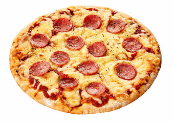 Tasty salami Italian pizza on a thick pastry base