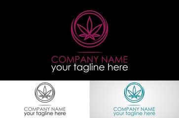 round marijuana logo vector