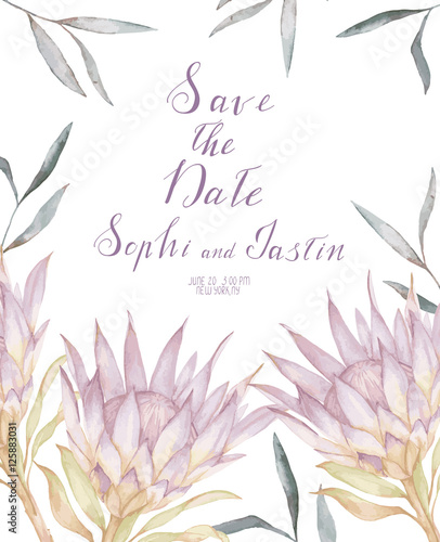 Watercolor wedding invitation with protea and eucalyptus leaves watercolor wedding invitation with protea and eucalyptus leaves vector template stopboris Image collections