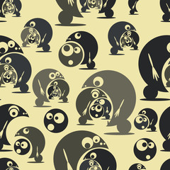 Seamless pattern with funny cute monsters. Vector