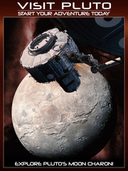 Fantasy space poster to visit pluto with today's  technology.