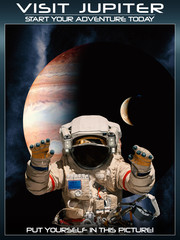 A fantasy space poster of visiting Jupiters with current modern technology.