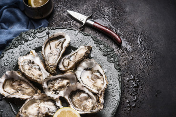 Open raw oysters on vintage plate with lemon and oysters knife, dark background, top view, close up