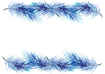 Watercolor spruce, pine, fir branches. Use for decoration, postcards, frame, advertisements, ads, and more. blue color