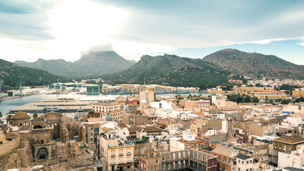 Panoramic the city of Cartagena, Spain. Fine Art stile