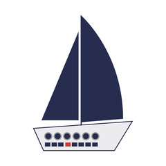 nautical sailboat vehicle icon over white backgorund. vector illustration