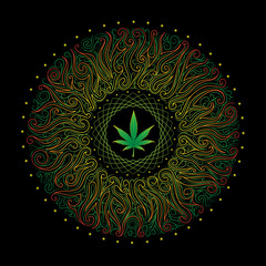 vector nonrecurring circular floral ornament with marijuana leaf