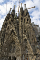 La Sagrada Familia - the cathedral designed by Gaudi, which is being build since 19 March 1882 and is not finished yet April 16, 2014 in Barcelona, Spain.