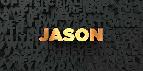 Jason - Gold text on black background - 3D rendered royalty free stock picture. This image can be used for an online website banner ad or a print postcard.
