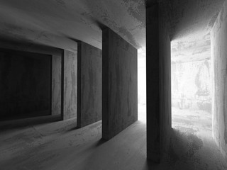 Concrete dark empty room interior.