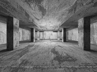 Empty dark concrete walls room interior. Abstract architecture b