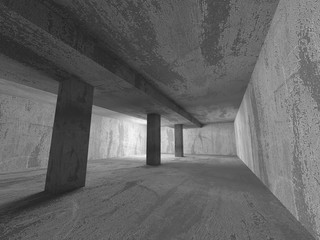 Dark urban empty concrete room basement interior. Architecture b