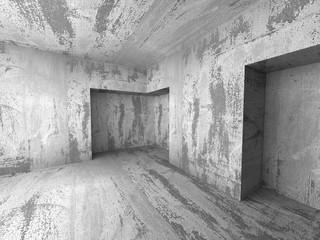 Empty dark concrete room interior corner