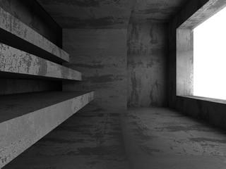 Abstract concrete empty dark room interior. Architecture backgro