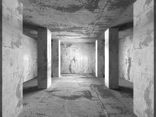 Geometric architecture background. Empty dark concrete room inte