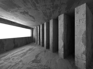 Dark empty urban concrete room urban interior