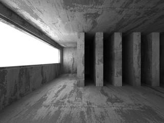 Abstract dark concrete walls room interior