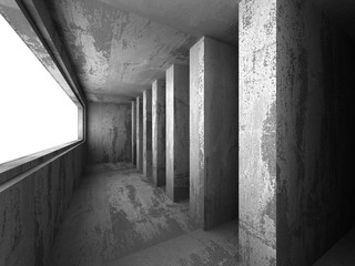 Dark concrete empty room interior. Architecture background