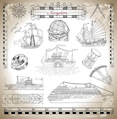 Marine set with old and modern ships, navigation tools and sea symbols with texture