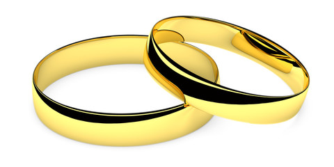 Two lying golden wedding rings