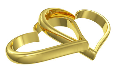 Couple of chained golden hearts diagonal view