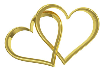 Couple of chained golden hearts front view