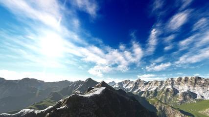 Idyllic summer landscape in the Alps 3d rendering