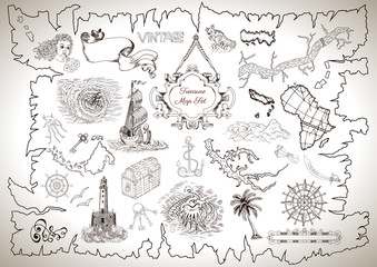 Vintage design collection for treasure or pirate map with engraved drawings
