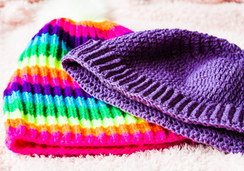 Knitting. Multicolor hats, crochet and knitting, hat rainbow clo