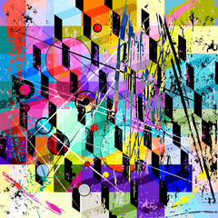 abstract background pattern, with strokes, splashes and geometri