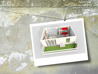Single photo frame with home apartment shot on weathered concrete wall