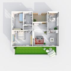 3d interior rendering plan view of square furnished home apartment