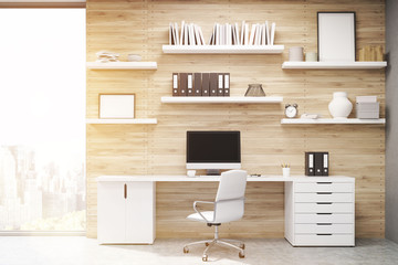 Home office with light wood panels, toned