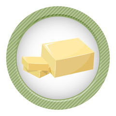 Sliced Margarine block. Baking ingredient butter stick.