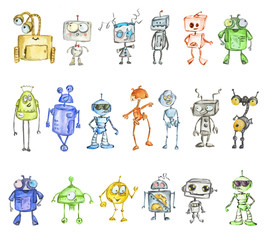 Robots watercolor set isolated on white background