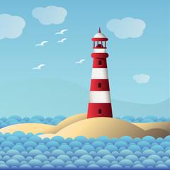 red lighthouse near the sea. vector. blue sky